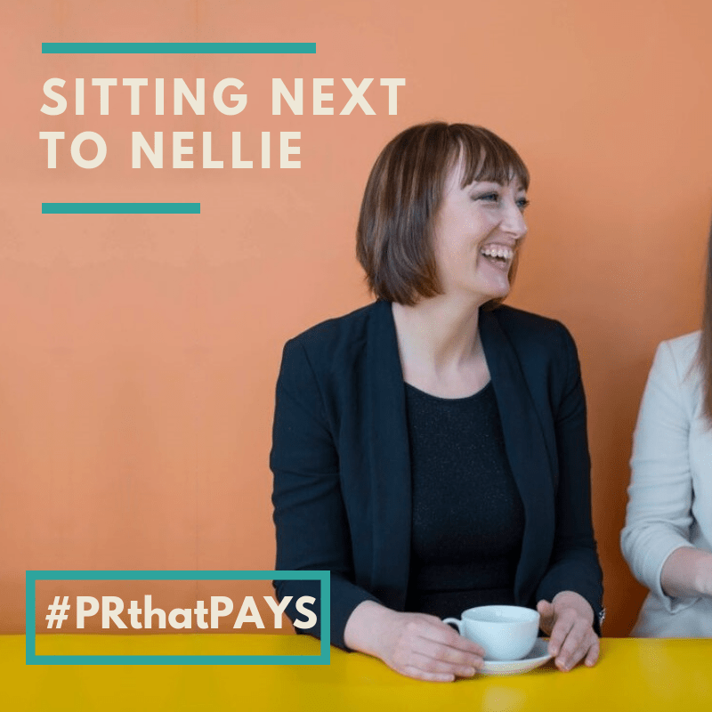 PR coaching sitting by Nellie